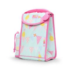 Plecak lunchbox z osobną kieszonką na picie miętowo - różowy w ananasy Penny Scallan