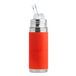 Termobutelka Pura ze słomką i pomarańczową osłonką 260 ml