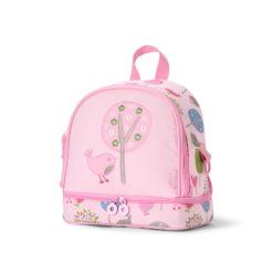Plecak dla malucha z kieszenią na drugie śniadnie - różowy w ptaszki Penny Scallan
