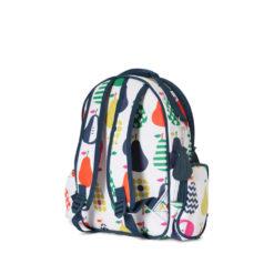 Mały plecak z kieszeniami biało-granatowy w gruszki Penny Scallan