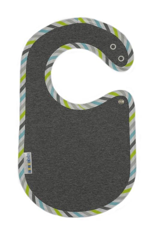 Śliniaczek ClickBibs szary z lamówką w szaro-zielono-błękitne paski