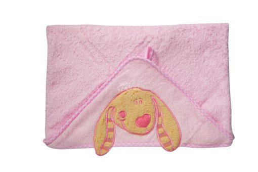 Bawełniane okrycie kąpielowe BabyOno 100 x 100 cm różowe