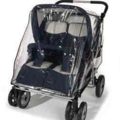 Folia przeciwdeszczowa na wózek podwójny- szeroki Reer