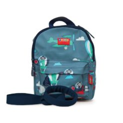 NOWY Plecak ze smyczą - niebieski w małpki Penny Scallan