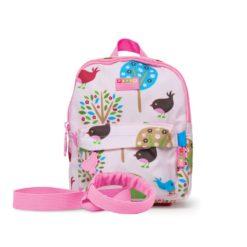 NOWY Plecak ze smyczą - różowy w ptaszki Penny Scallan