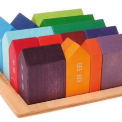 Zestaw tęczowych domków ręcznie malowanych